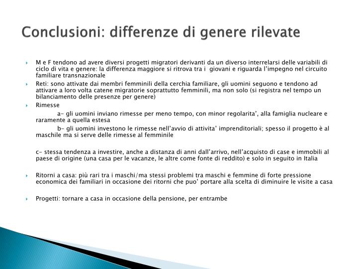 Conclusioni: differenze di genere rilevate