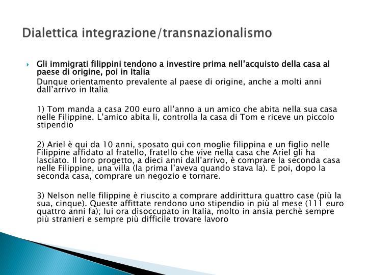 Dialettica integrazione/transnazionalismo