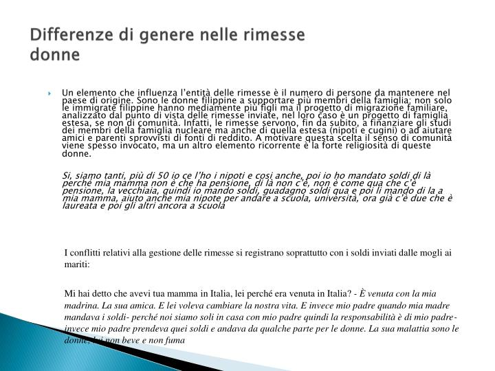 Differenze di genere nelle rimesse