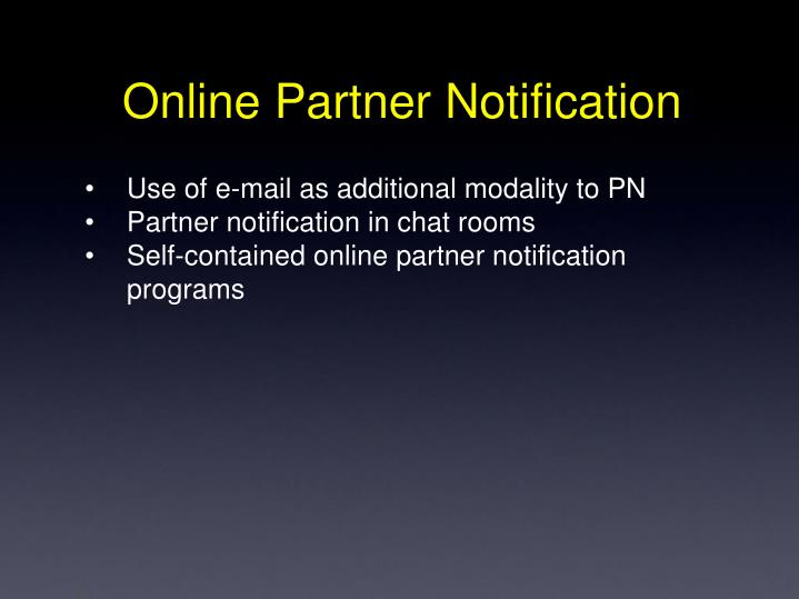 Online Partner Notification