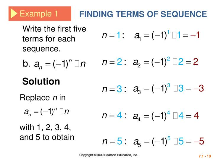 FINDING TERMS OF SEQUENCE