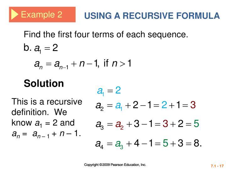 USING A RECURSIVE FORMULA