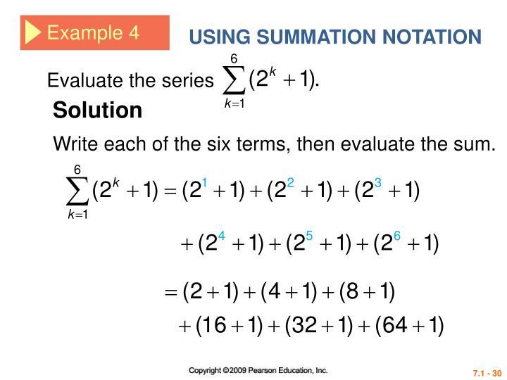USING SUMMATION NOTATION