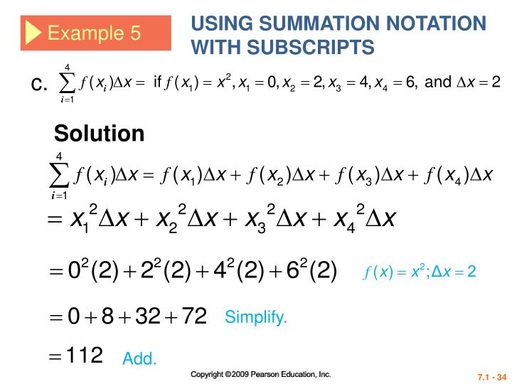 USING SUMMATION NOTATION WITH SUBSCRIPTS