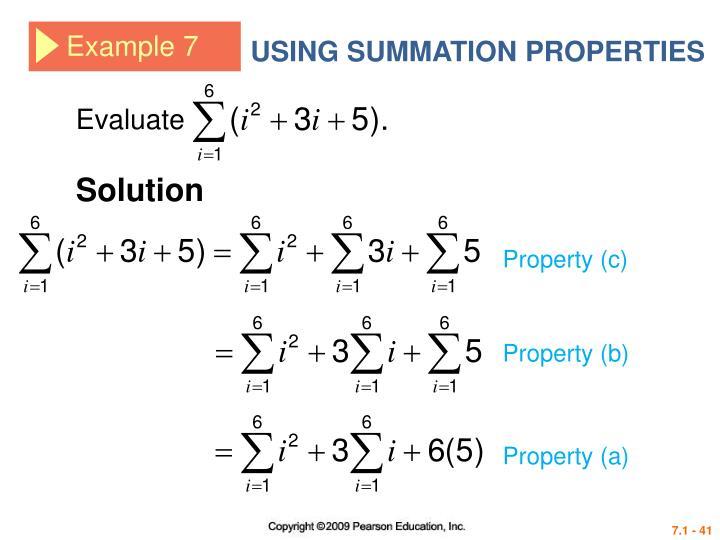 USING SUMMATION PROPERTIES
