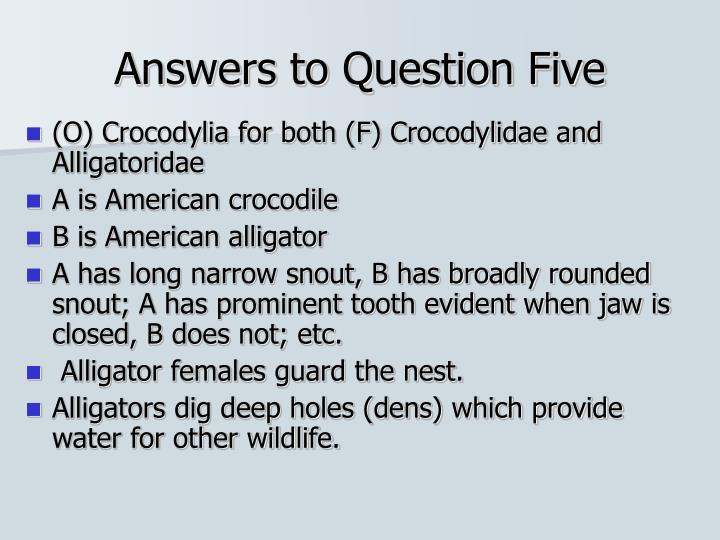 Answers to Question Five