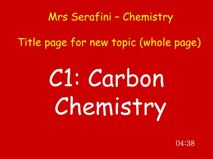 Mrs serafini chemistry title page for new topic whole page