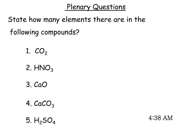 Plenary Questions
