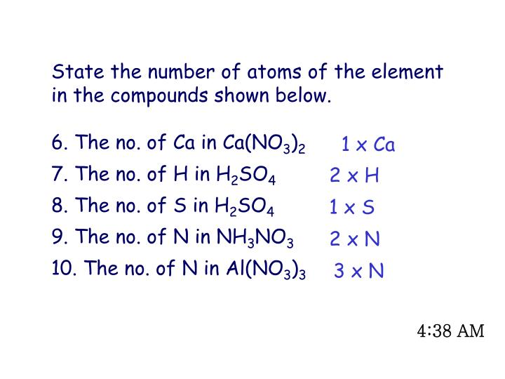 State the number of atoms of the element in the compounds shown below.