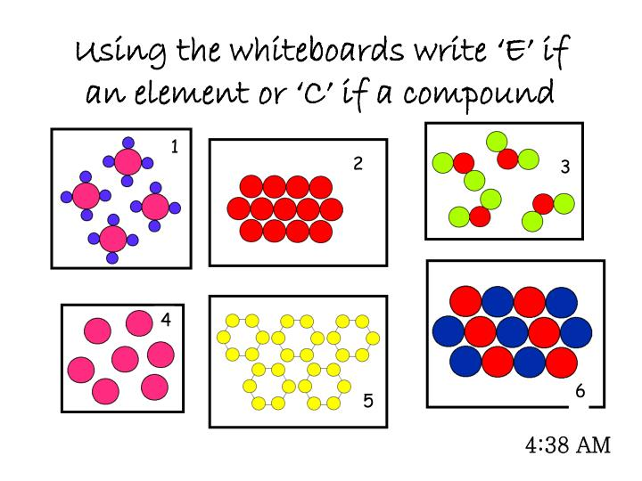 Using the whiteboards write 'E' if an element or 'C' if a compound
