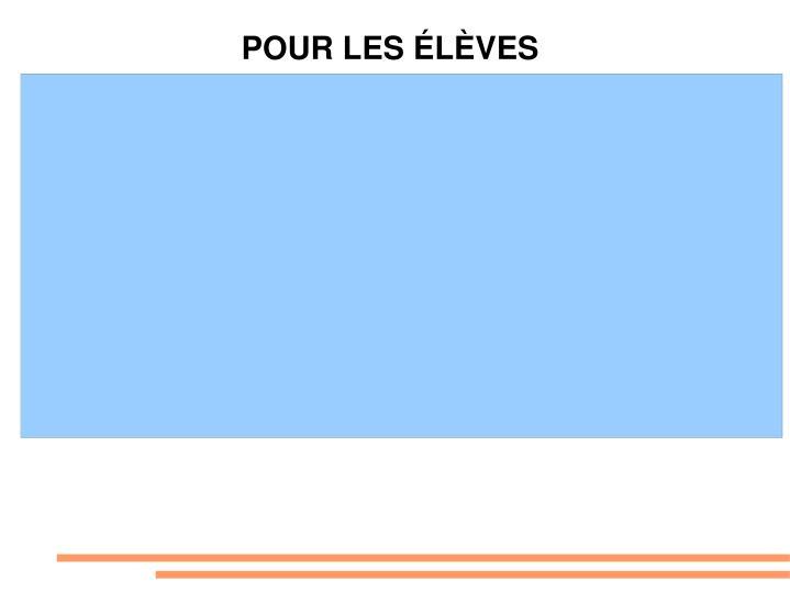 POUR LES ÉLÈVES