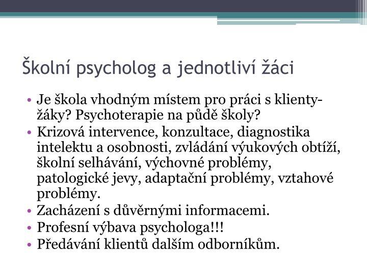 Školní psycholog a jednotliví žáci