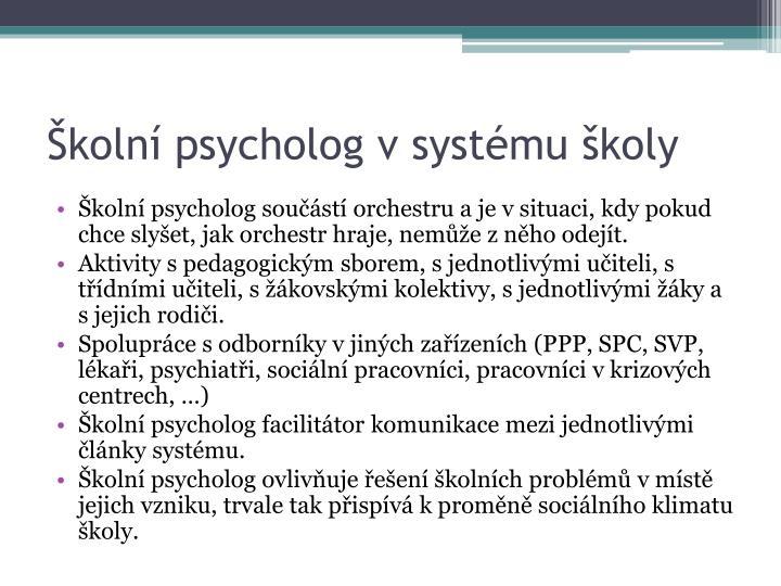Školní psycholog v systému školy
