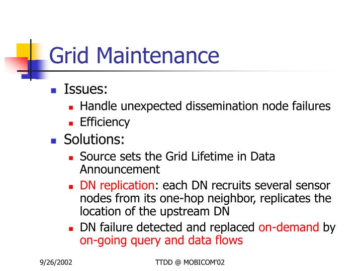 Grid Maintenance