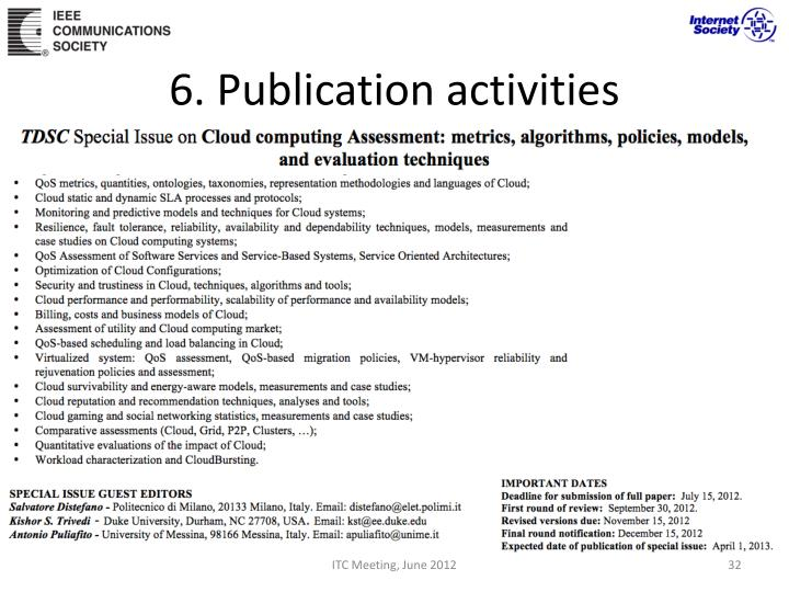 6. Publication activities