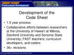 development of the code sheet