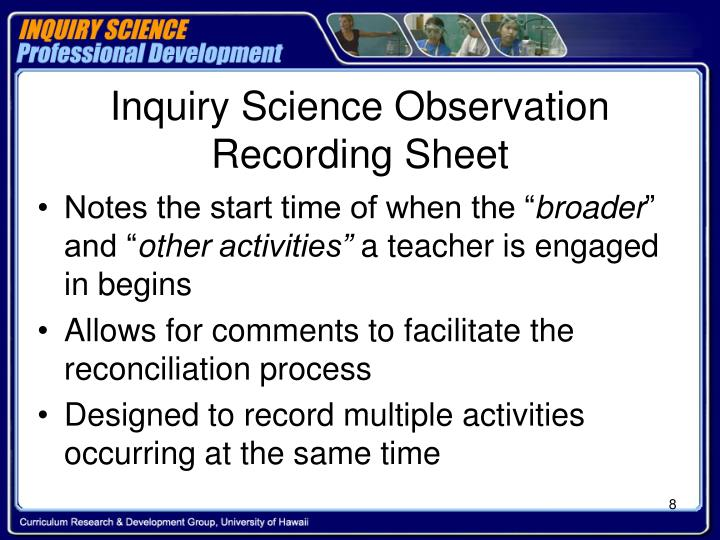 Inquiry Science Observation Recording Sheet