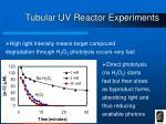 tubular uv reactor experiments