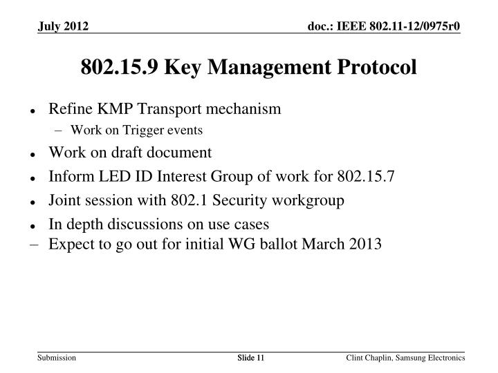 802.15.9 Key Management Protocol
