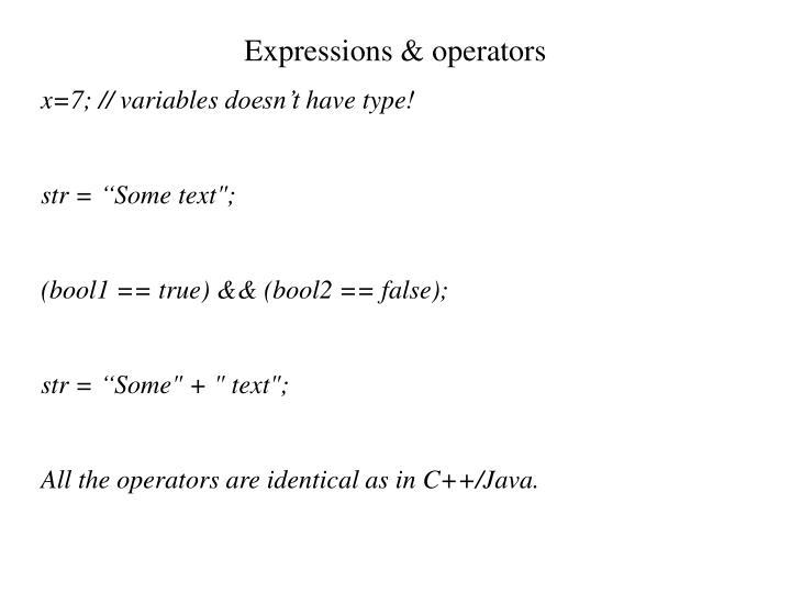 Expressions & operators