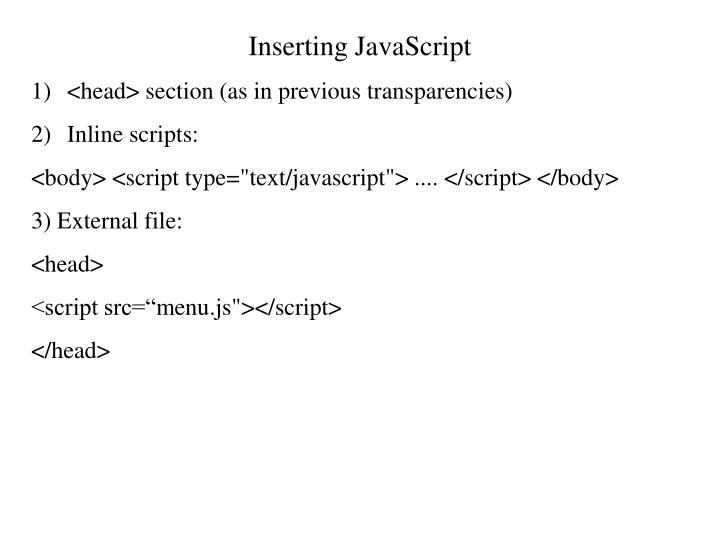 Inserting JavaScript