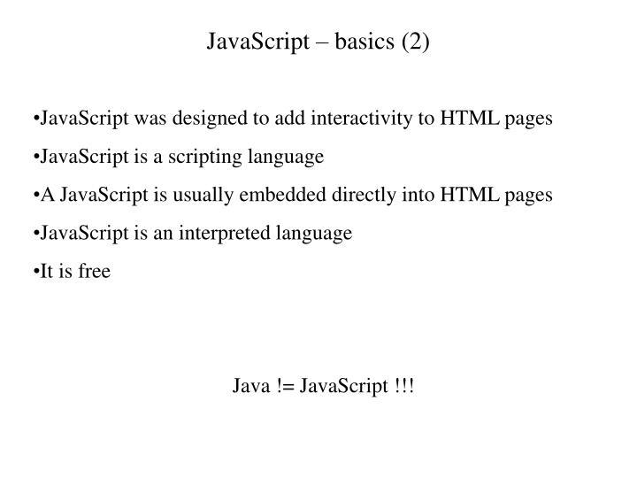 JavaScript – basics (2)