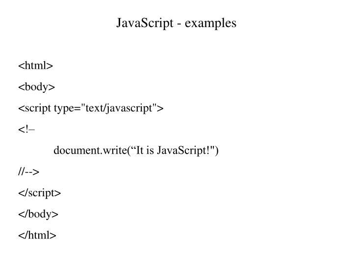 JavaScript - examples