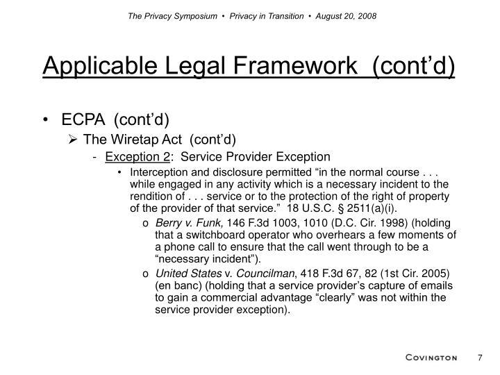 Applicable Legal Framework  (cont'd)