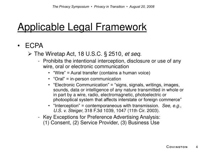 Applicable Legal Framework