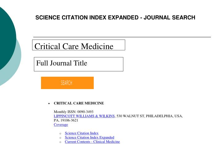 SCIENCE CITATION INDEX EXPANDED - JOURNAL SEARCH