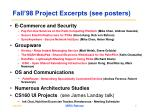 fall 98 project excerpts see posters
