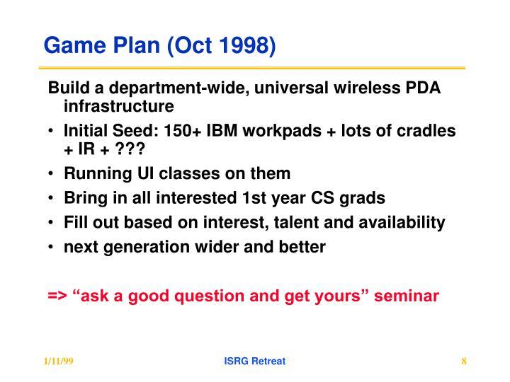 Game Plan (Oct 1998)