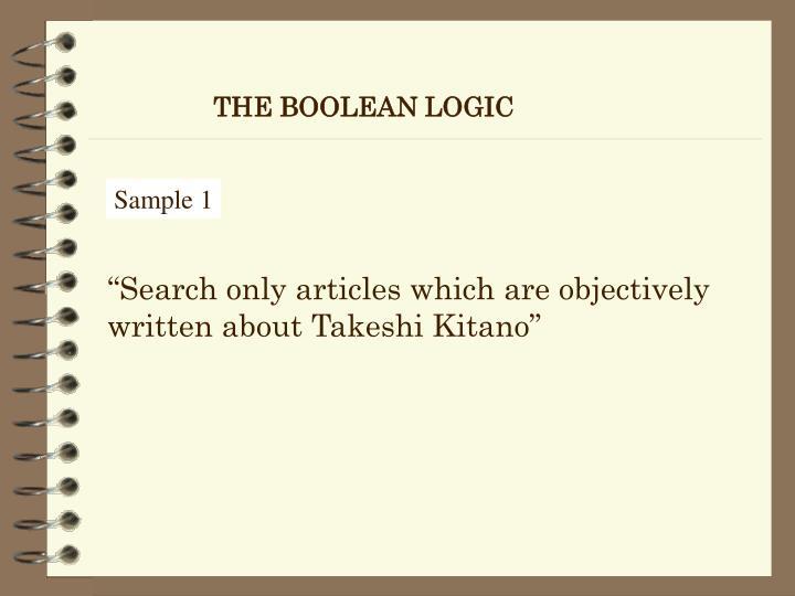 THE BOOLEAN LOGIC
