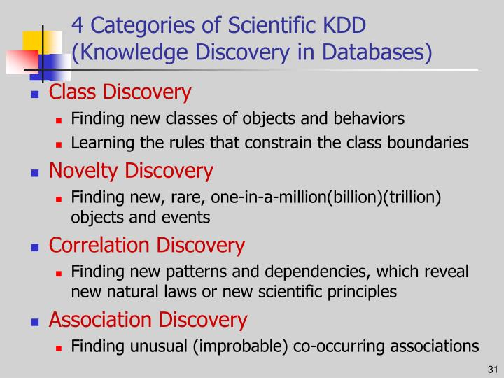 4 Categories of Scientific KDD