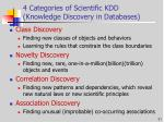 4 categories of scientific kdd knowledge discovery in databases