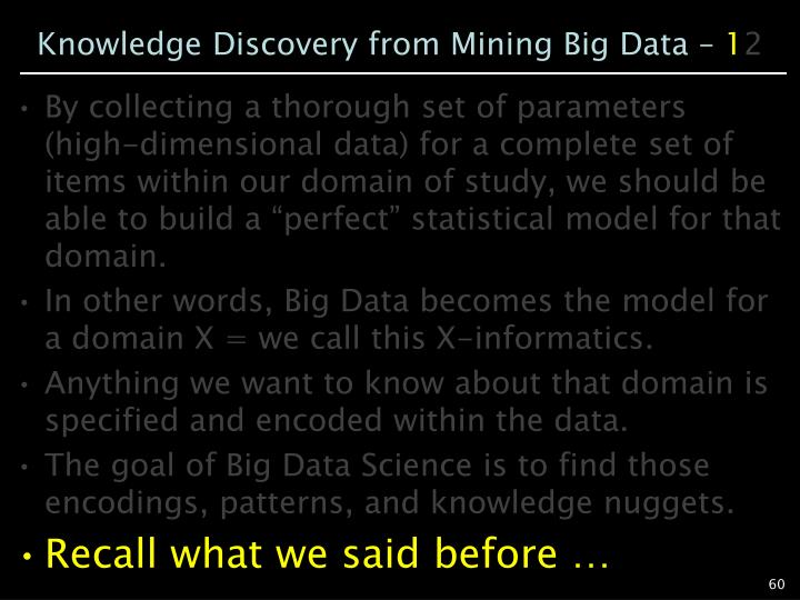 Knowledge Discovery from Mining Big Data –
