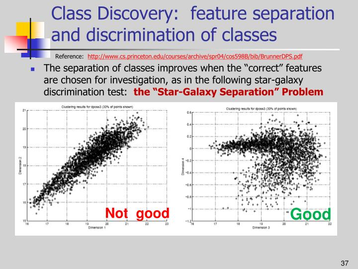 Class Discovery:  feature separation and discrimination of classes