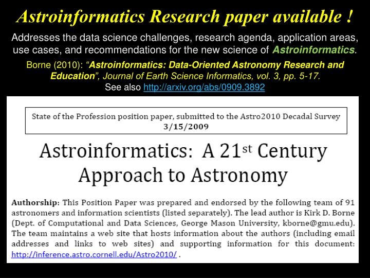 Astroinformatics Research paper available !