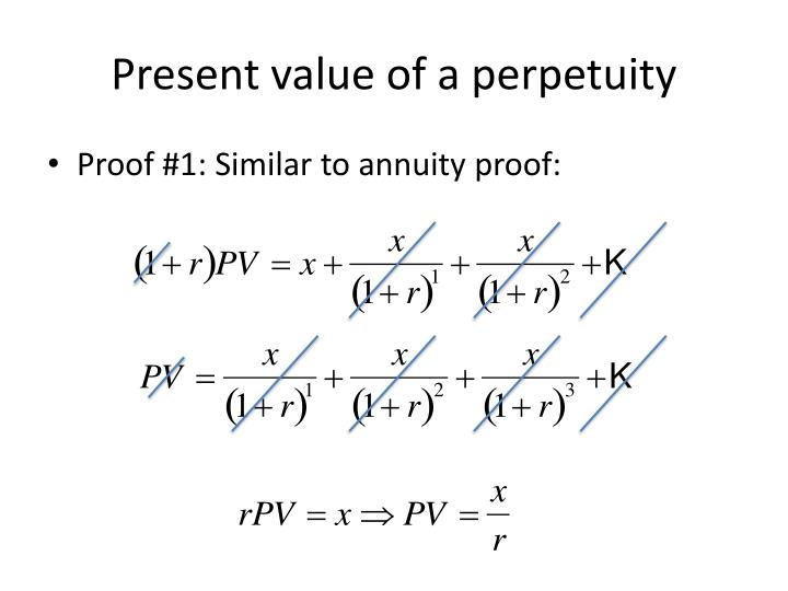 Present value of a perpetuity