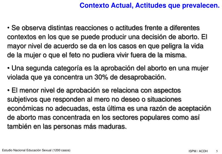 Contexto Actual, Actitudes que prevalecen.