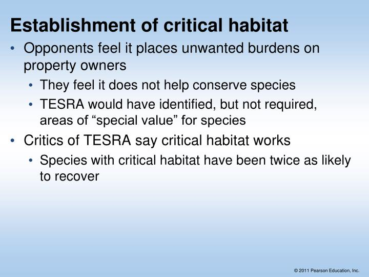Establishment of critical habitat