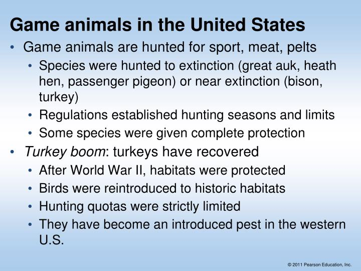 Game animals in the United States