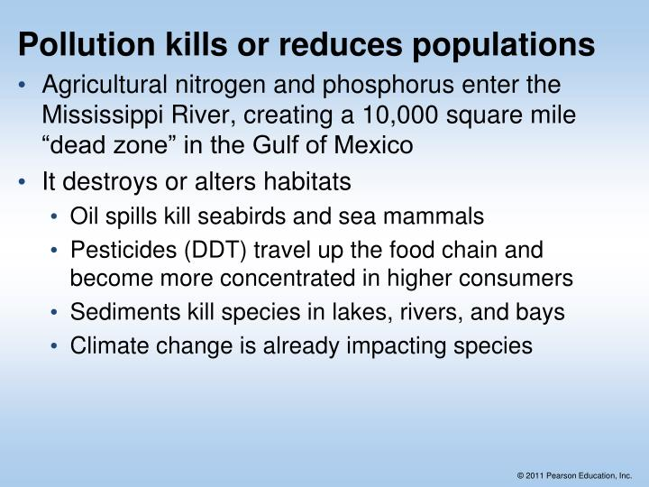 Pollution kills or reduces populations