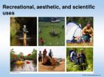 recreational aesthetic and scientific uses