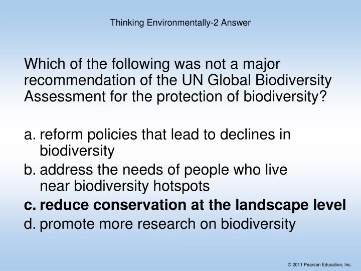 Which of the following was not a major recommendation of the UN Global Biodiversity Assessment for the protection of biodiversity?