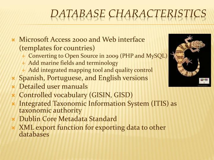 Database Characteristics