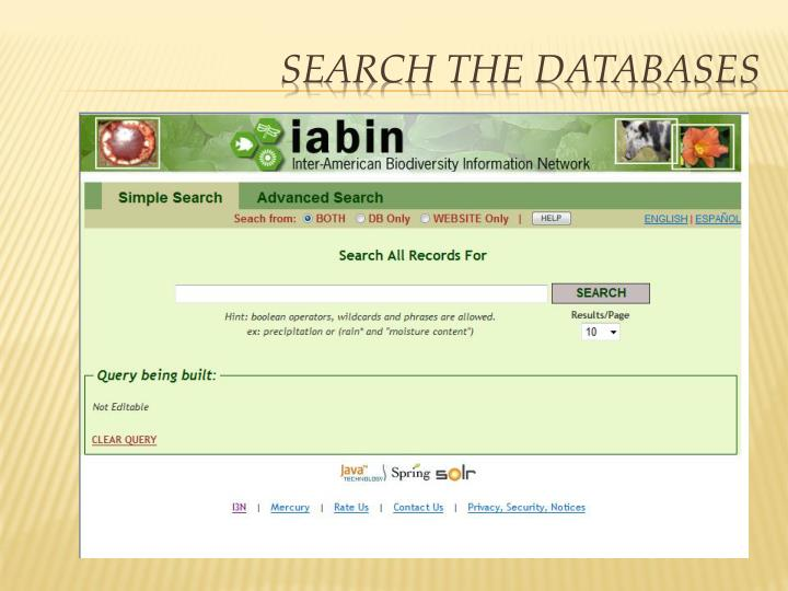 Search the Databases