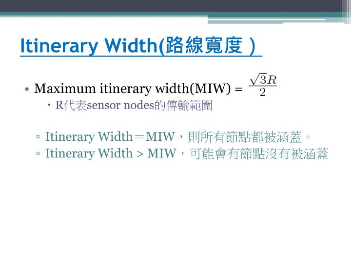 Itinerary Width(