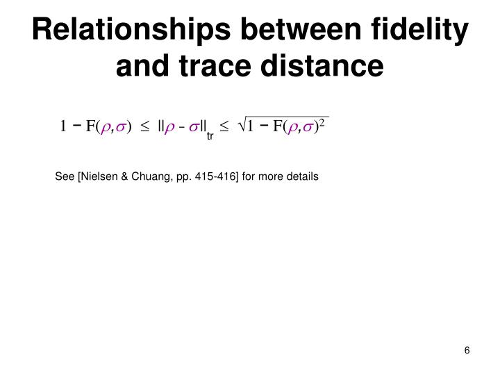 Relationships between fidelity and trace distance