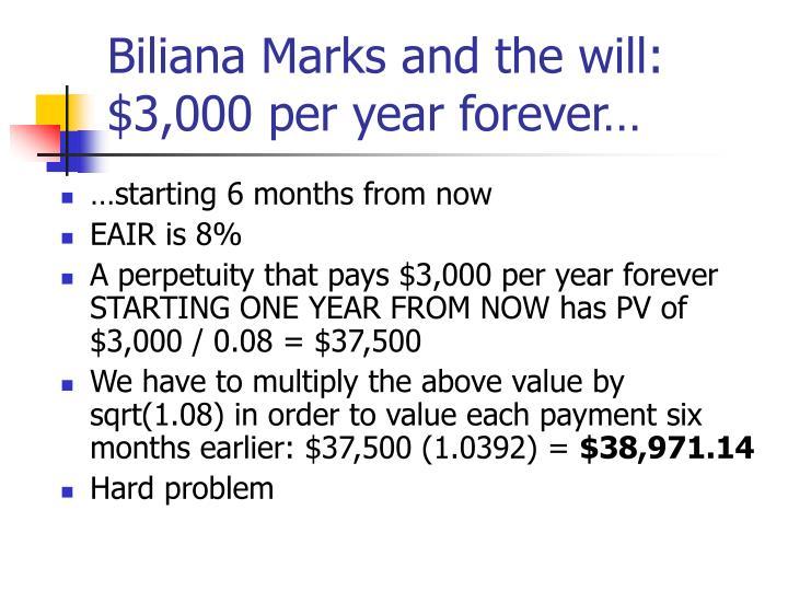 Biliana Marks and the will: